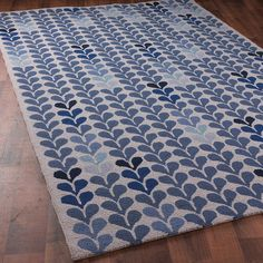 "Climbing Modern Vine Hooked Rug: Cobalt blues or Dk. Taupe  Shades of Light 2'6"" X 8' runner $248"