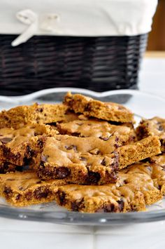 Pumpkin Chocolate Chip Brownies by Pennies on a Platter.