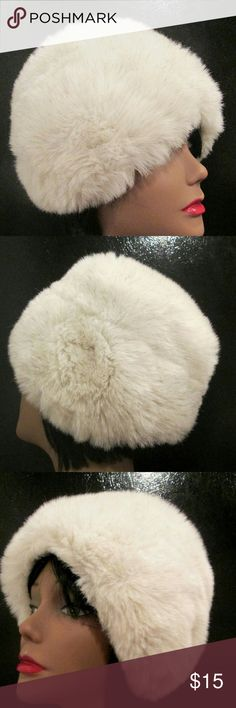 """Vintage Faux Fur Winter Snow Hat Vintage Fur Hat. Faux Fur Bonnet. Mixed Fur Color: Bone White with Mixed Gray? Wonderful Condition Inside and Out. Soft Soft and Fluffy. Elastic Crown Band for Fit. Crown : 25"""" Around Vintage Accessories Hats"""