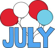 Free Month Clip Art | Red White and Blue July Clip Art Image - the word July in red, white ...
