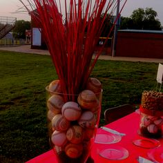 Or table decor for banquet softball party, baseball birthday, baseball part Softball Party, Baseball Birthday, Baseball Party, Baseball Mom, Softball Wedding, Softball Stuff, Baseball Centerpiece, Banquet Centerpieces, Baseball Table