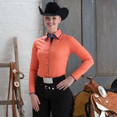2 Tone Double Collar Peach Show Blouse- Ride with style and grace wearing this double collar show blouse