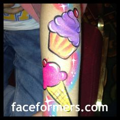 cupcake and icecream face/arm painting - by Brenda Bourges