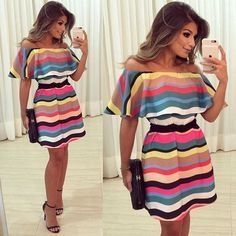 "b345645c88 Ariane Cânovas on Instagram  "" Colors 💗  Vestido  anahovastore Ondas  coloridas + cinto de corda! 😍  fridaylook  ootn  blogtrendalert"""