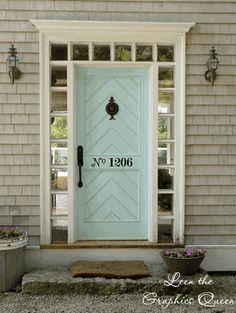 Street Number Door Decal from Leen the graphics Queen.  Comes in a number of colors including white.  They also have other really nice decorative wall decals.
