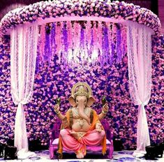 Flower Decoration For Ganpati, Eco Friendly Ganpati Decoration, Ganpati Decoration Design, Desi Wedding Decor, Wedding Stage Decorations, Backdrop Decorations, Flower Decorations, Gauri Decoration, Ganesh Chaturthi Decoration