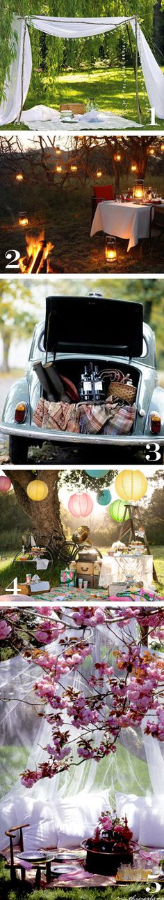 awesome outdoor picnic romantic dinner for two setup ideas.