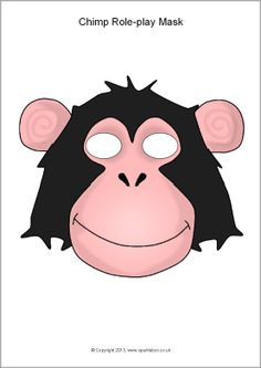 Chimp / Monkey Role-Play Mask Template (Color or Black & White) Craft / Art Project - Great for Pre-K Complete Preschool Curriculum's Zoo theme! Repinned by Pre-K Complete - follow us on our blog, FB, Twitter, & Google Plus!