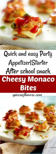 Cheesy Monaco Bites is a simple party appetizer starter recipe or after school snack idea perfect for beginners too. Back to school ideas bachelor food Appetizers For Kids, Appetizers For Party, Appetizer Recipes, Appetizer Ideas, Parties Food, Easy Indian Snacks, Indian Food Recipes, Diwali Recipes, Best Party Food