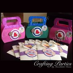 Doc. McStuffins favor bags for girls & boys! Made completly out of EVA Foam. Plus coordinating invitations. To see more of my handmade creations or for pricing information, visit my fan page at www.facebook.com/CraftingPartiesByDianna or on Instagram @craftingparties