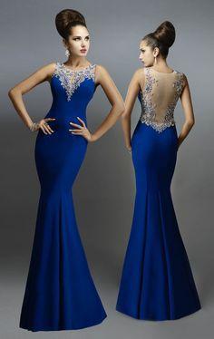 Vestidos de Fiesta de Promo color Azul Real