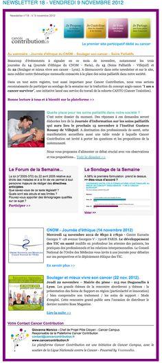 Notre newsletter n°18 vient de paraître    >> à retrouver sur la plateforme...    http://www.cancercontribution.fr/newsletters/newsletter-18-vendredi-9-novembre-2012