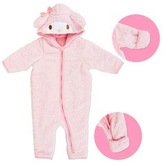 My Melody Baby Fluffy Coverall Rompers 80cm PINK SANRIO JAPAN