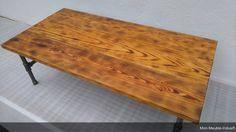 Table basse en pin massif,tube acier industriel,table industriel ,table en bois