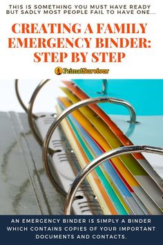 Create A Family Emergency Binder: Step By Step Instructions to help keep your safe when you have to flee your home after a disaster. Emergency Preparedness Binder, Family Emergency Binder, Emergency Preparation, Emergency Supplies, Disaster Preparedness, In Case Of Emergency, Survival Prepping, Emergency Kits, Emergency Planning