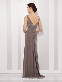 Cameron Blake 216690 - Sleeveless jersey sheath with bateau neckline, ruched natural waistband with hand-beaded motif at side, V-back, layered side draped skirt with sweep train. Matching shawl included.