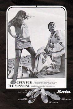 """Open for Sunshine"" Vintage Bata advertising, India, ca. 1970 #batashoes #bata120years #advertising"