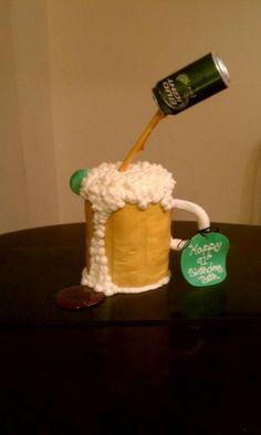 Beer Mug Cake all buttercream with candy beer and fondant handle Beer Mug Cake, Cake Decorating, Decorating Ideas, Albino, Cupcake Ideas, Decorated Cakes, Bartender, Birthday Cakes, Ice Cream