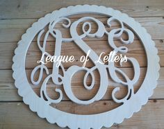 30 inch SCALLOPED CIRCLE BORDER Wooden Monogram by LeagueofLetters, $47.00