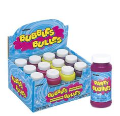 Childrens Magic Blow Bubble Tubs Kids Party Bag Fillers Novelty Favors Box of 12
