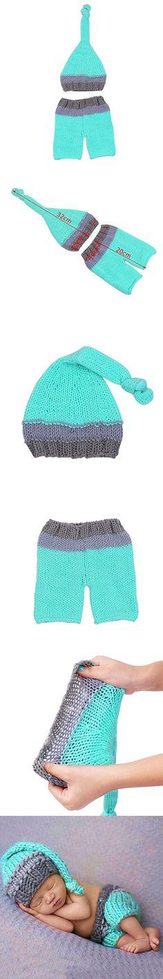 Feiuruhf Newborn Baby Girl Boy Crochet Knit Hat Costume Photography Prop Outfit Set