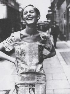 Twiggy, newspaper dress