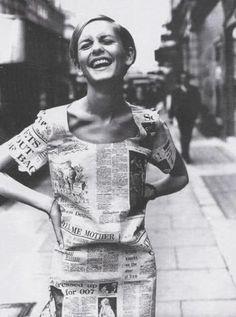 Twiggy, newspaper dress