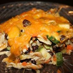 Brown Rice and Black Bean Casserole. Leave out the chicken. Add extra rice and carrots.