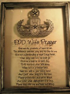 EOD Wife Prayer with MASTER Badge Explosive ordnance disposal glass art Original by CreationsbyGena, $27.00