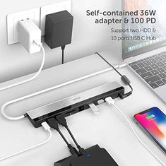 Amazon.com: VAVA USB C Docking Station with 36W Adapter, 100W PD, Ethernet Port, SD Card Slot, 2 x USB 3.1, 2 x USB 2.0, 1 x QC 3.0 Ports, 1xPD 3.0 Port, 1x DC in Port for MacBook Pro and Type C Windows Laptop: Gateway Projector Reviews, Usb Dock, Office Table, Usb Hub, Home Security Systems, Docking Station, Electronic Devices, Apple Products, Laptop Computers