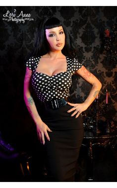 Vavavoom top in Black with White Polka Dots | Pinup Girl Clothing