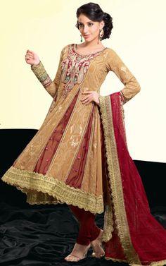Beige Brown & Maroon Georgette Anarkali Churidar Salwar Kameez - StylishKart