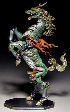 main photo of KT Project Takeya Style Jizai Okimono Kirin Painted Edition Pottery Sculpture, Sculpture Art, Sculptures, Fantasy Creatures, Mythical Creatures, Makeup Fx, Japanese Screen, Japanese Mythology, Asian Art Museum
