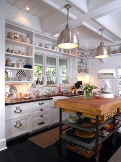 Cottage/Coastal kitchen, industrial island, butcher block, subway tile, coffered ceiling...