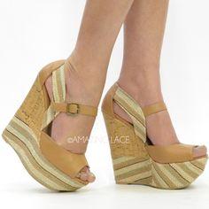 Beverly Hills Picnic Wedge Brown Natural Platform 32  2013 Fashion High Heels 