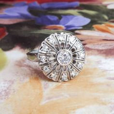 Art Deco Engagement Ring Vintage 1930's Old Diamond Halo Engagement Wedding Anniversary Ring Platinum