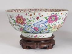 Chinese Export Porcelain Famille Rose Punch Bowl
