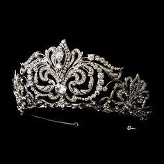 Antique Silver Majestic Rhinestone Wedding or Quinceanera Tiara - Affordable Elegance Bridal -