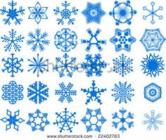 winter set vector illustration of snowflake - tattoo