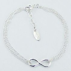 Silver Infinity Bracelet Delicate 925 Sterling Silver Chain Adjustable 170mm NEW