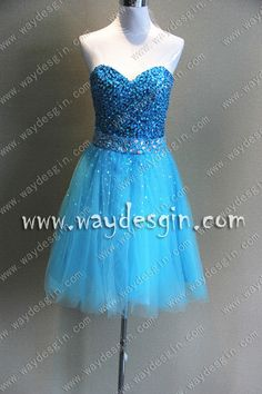 A-Line Sweetheart Beading Sequins Tulle Knee-Length Prom Dress