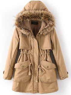 Khaki Hooded Long Sleeve Drawstring Pockets Coat US$58.36