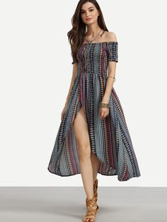 Multicolor Tribal Print Shirred Off The Shoulder Dress -SheIn(Sheinside)