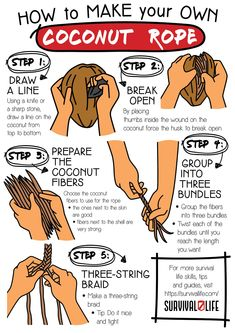 Learning how to make a coconut rope from scratch means having a backup plan should anything happen to your store-bought survival ropes. Learn with us how to make one in five simple steps. #coconutrope #survivalskills #survivaltips #survival #preparedness #gunassociation Survival Tools, Survival Prepping, Emergency Preparedness, Thick Braid, The Husk, How To Make Rope, Shtf, Safety Tips, Ropes