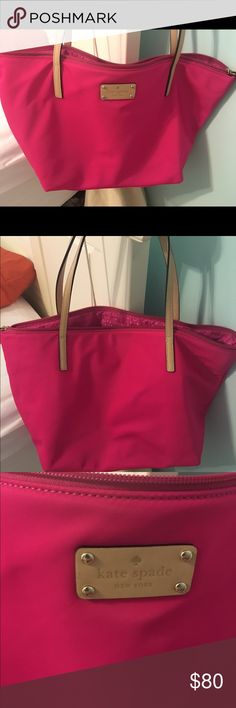Kate Spade pink tote! (perfect condition) Hot pink nylon style Kate Spade tote! used a few times, but PERFECT condition and easy material to wash. perfect size tote! kate spade Bags Totes