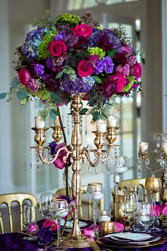 Mardi Gras Wedding Inspiration from The Graceful Host and Old South Studios - Southern Weddings Magazine Quinceanera Centerpieces, Floral Centerpieces, Wedding Centerpieces, Wedding Table, Floral Arrangements, Wedding Decorations, Tall Centerpiece, Quinceanera Ideas, Centrepieces