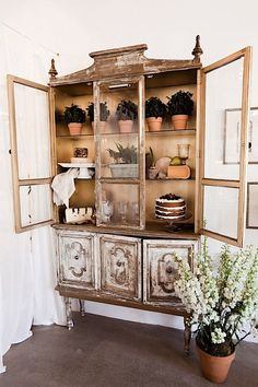 I'd like to have something like this on my porch with potted live plants growing - maybe can find an old china cabinet at thrift store or free cycle!