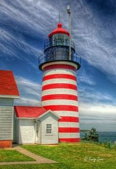 West Quoddy Head Light, Lubec, Maine - is the easternmost point of the contiguous United States and the closest point to Europe from a point in the fifty U. Light In, Beacon Of Light, Head Light, Maine Lighthouses, Lighthouse Pictures, New Hampshire, Architecture, New England, Beautiful Places