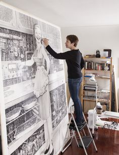 Laurie Lipton in her studio.