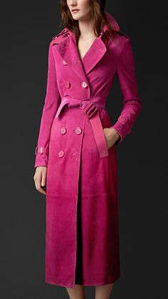 Burberry Prorsum Bright Magenta Dégradé Suede Trench Coat with Patent Trim - A dégradé trench coat with contrast texture details. Cut from soft suede, the coat is hand-sprayed for a graduated effect. Discover the women's outerwear collection at Burberry.com